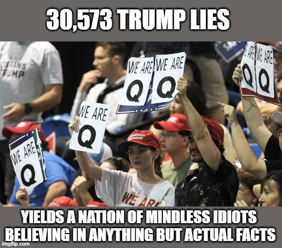 Disillusioned Trump supporters seek something new to believe in... except any actual evidendiary & provable facts |  30,573 TRUMP LIES; YIELDS A NATION OF MINDLESS IDIOTS  BELIEVING IN ANYTHING BUT ACTUAL FACTS | image tagged in trump,election 2020,liar,loser,q'anon,propaganda | made w/ Imgflip meme maker