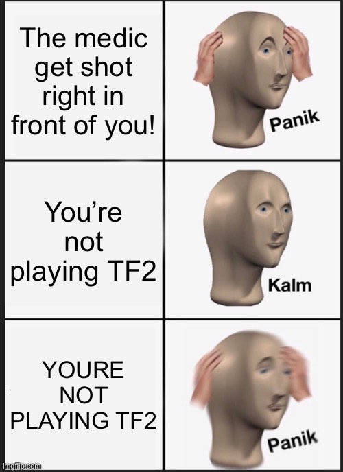 O-O |  The medic get shot right in front of you! You're not playing TF2; YOURE NOT PLAYING TF2 | image tagged in memes,panik kalm panik | made w/ Imgflip meme maker