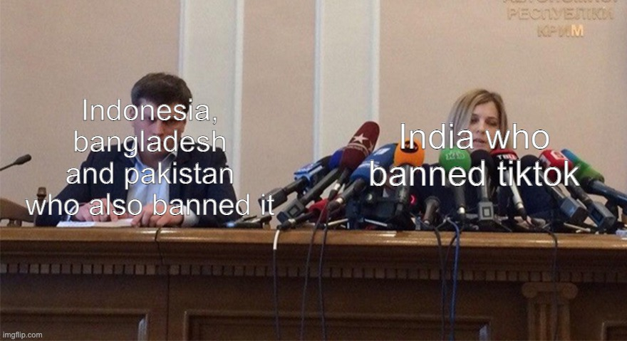 Man and woman microphone |  Indonesia, bangladesh and pakistan who also banned it; India who banned tiktok | image tagged in man and woman microphone,tiktok,india,2020,old | made w/ Imgflip meme maker
