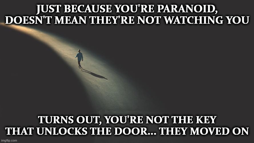 JUST BECAUSE YOU'RE PARANOID, DOESN'T MEAN THEY'RE NOT WATCHING YOU; TURNS OUT, YOU'RE NOT THE KEY THAT UNLOCKS THE DOOR... THEY MOVED ON | image tagged in dark humor,funny,paranoid | made w/ Imgflip meme maker