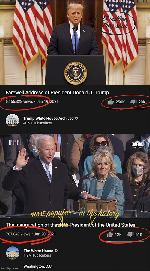 The most popular president in the history of the United States. | image tagged in joe biden,inauguration,81m votes | made w/ Imgflip meme maker