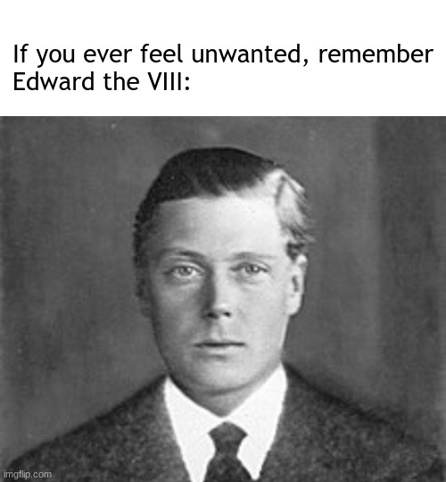you probably won't understand this meme. |  If you ever feel unwanted, remember  Edward the VIII: | image tagged in blank white template,english,royal family,edward | made w/ Imgflip meme maker