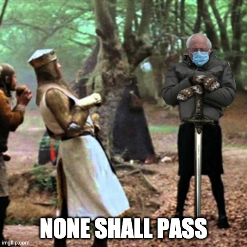 Bernie Sanders - None Shall Pass |  NONE SHALL PASS | image tagged in none shall pass,bernie sanders,monty python and the holy grail,monty python black knight,it's only a flesh wound | made w/ Imgflip meme maker