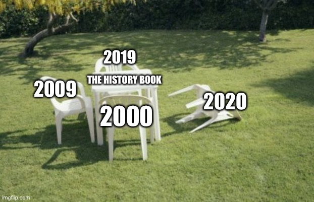 2020 |  2019; 2009; THE HISTORY BOOK; 2020; 2000 | image tagged in memes,we will rebuild | made w/ Imgflip meme maker