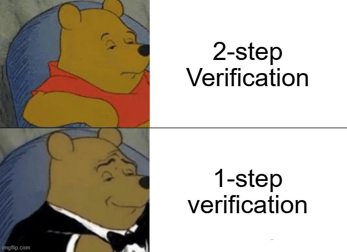 Why |  2-step Verification; 1-step verification | image tagged in memes,tuxedo winnie the pooh | made w/ Imgflip meme maker