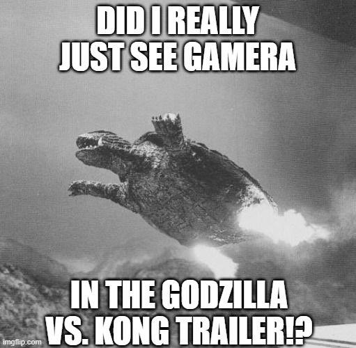 2021 might be a good year after all |  DID I REALLY JUST SEE GAMERA; IN THE GODZILLA VS. KONG TRAILER!? | image tagged in gamera flying,godzilla vs kong,mind blown,epic battle | made w/ Imgflip meme maker