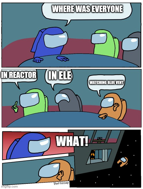 Among Us Meeting |  WHERE WAS EVERYONE; IN ELE; IN REACTOR; WATCHING BLUE VENT; WHAT! | image tagged in among us meeting | made w/ Imgflip meme maker