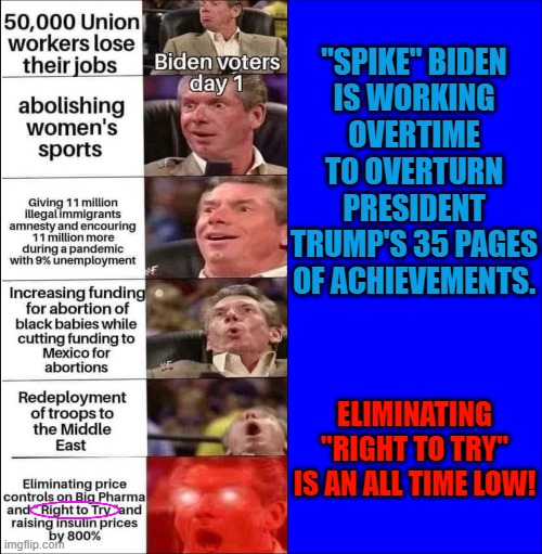 """""""SPIKE"""" BIDEN IS WORKING OVERTIME TO OVERTURN PRESIDENT TRUMP'S 35 PAGES OF ACHIEVEMENTS. ELIMINATING """"RIGHT TO TRY"""" IS AN ALL TIME LOW! 