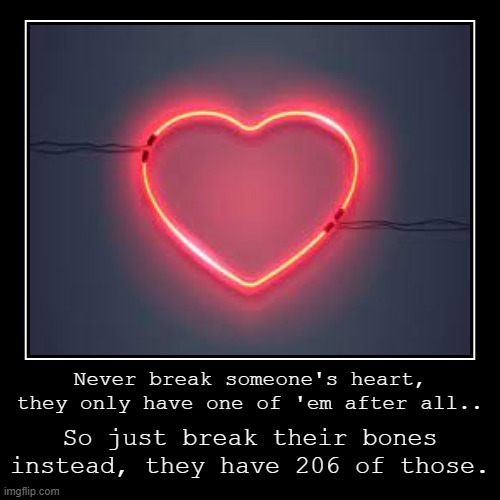 Break bones, not hearts.. | Never break someone's heart, they only have one of 'em after all.. | So just break their bones instead, they have 206 of those. | image tagged in dark humor,heart,bones | made w/ Imgflip demotivational maker