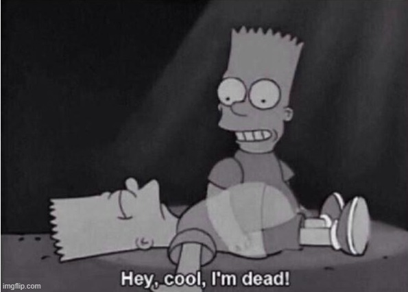 Hey, cool, I'm dead! | image tagged in hey cool i'm dead | made w/ Imgflip meme maker