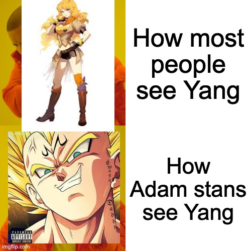 Drake Hotline Bling |  How most people see Yang; How Adam stans see Yang | image tagged in memes,drake hotline bling,rwby,dbz,haters gonna hate | made w/ Imgflip meme maker