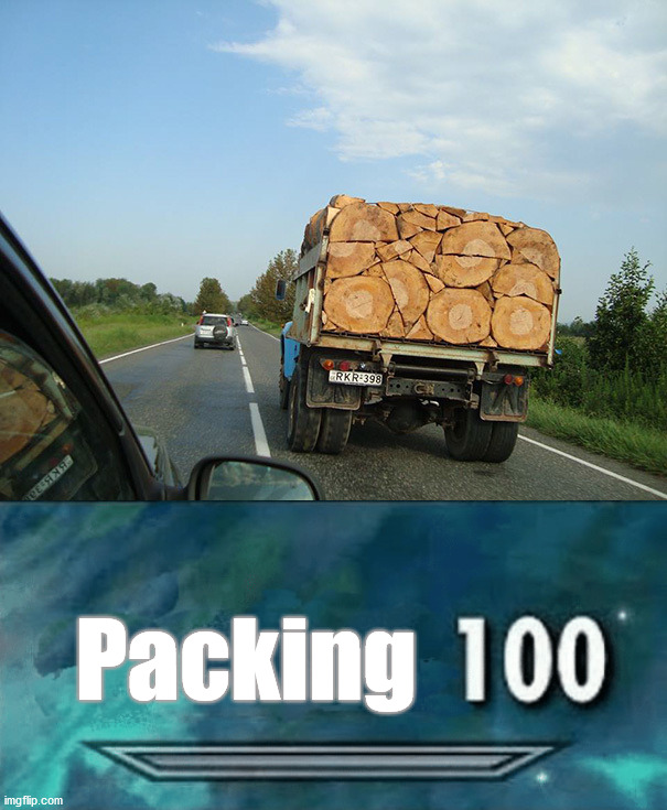 skillz |  Packing | image tagged in skyrim skill meme,wood | made w/ Imgflip meme maker