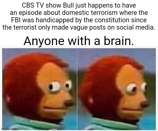 They are coming |  CBS TV show Bull just happens to have an episode about domestic terrorism where the FBI was handicapped by the constitution since the terrorist only made vague posts on social media. Anyone with a brain. | image tagged in memes,monkey puppet,constitution,leftists,game over | made w/ Imgflip meme maker