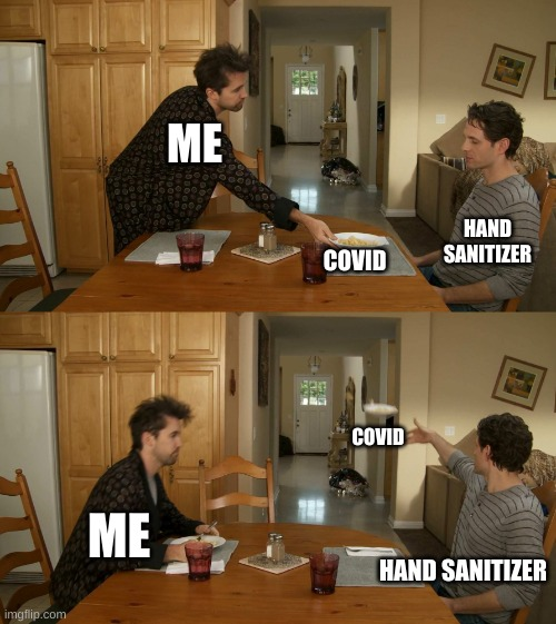 How Sanitizer Works |  ME; HAND SANITIZER; COVID; COVID; ME; HAND SANITIZER | image tagged in plate toss | made w/ Imgflip meme maker