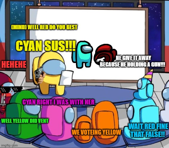 Yellow sounds sus |  (MIND) WELL RED DO YOU BEST; CYAN SUS!!! HEHEHE; HE GIVE IT AWAY BECAUSE HE HOLDING A GUN!!! CYAN RIGHT I WAS WITH HER; WAIT RED FINE THAT FALSE!! WELL YELLOW DID VENT; WE VOTEING YELLOW | image tagged in among us presentation,among us sus,among us memes,among us meeting | made w/ Imgflip meme maker