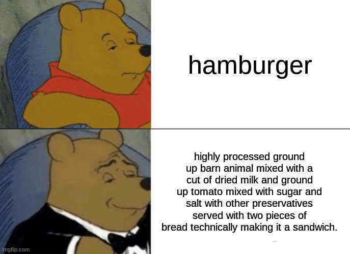 Tuxedo Winnie The Pooh |  hamburger; highly processed ground up barn animal mixed with a cut of dried milk and ground up tomato mixed with sugar and salt with other preservatives served with two pieces of bread technically making it a sandwich. | image tagged in memes,tuxedo winnie the pooh | made w/ Imgflip meme maker