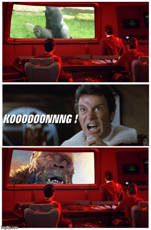 when you accidentally transmit the wrong video | image tagged in king kong,godzilla vs kong,star trek,captain kirk,captain kirk screaming,star trek kirk khan | made w/ Imgflip meme maker