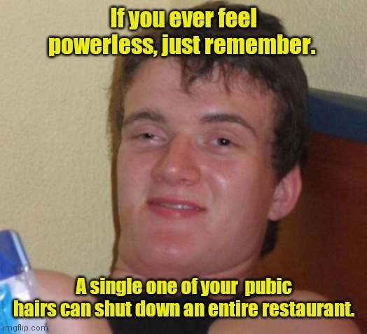 I have the power. |  If you ever feel powerless, just remember. A single one of your  pubic hairs can shut down an entire restaurant. | image tagged in memes,10 guy,funny | made w/ Imgflip meme maker