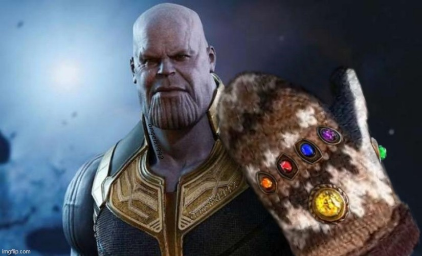 image tagged in thanos,avengers,bernie sanders,bernie mittens,infinity gauntlet,thanos infinity stones | made w/ Imgflip meme maker