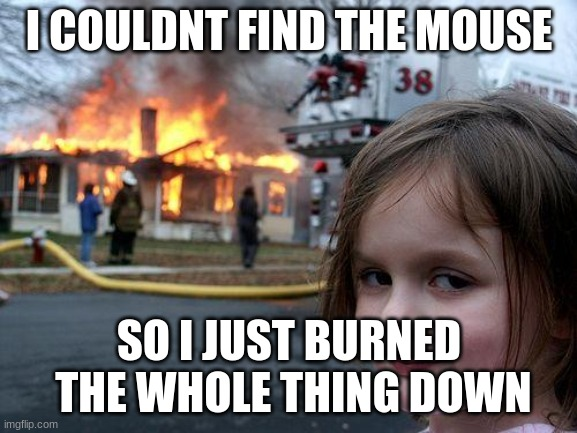 Disaster Girl |  I COULDNT FIND THE MOUSE; SO I JUST BURNED  THE WHOLE THING DOWN | image tagged in memes,disaster girl | made w/ Imgflip meme maker