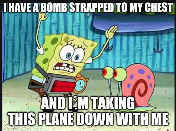 Gary help me, I have a bomb strapped to my chest |  I HAVE A BOMB STRAPPED TO MY CHEST; AND I´M TAKING THIS PLANE DOWN WITH ME | image tagged in gary help me i have a bomb strapped to my chest | made w/ Imgflip meme maker