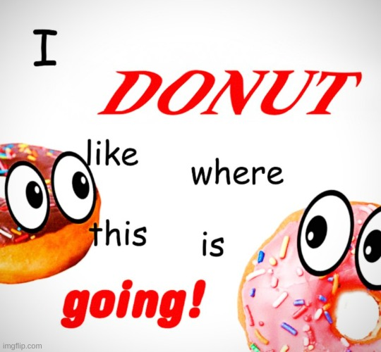 I Donut like where this is going | image tagged in donuts,donut,new meme,original meme | made w/ Imgflip meme maker