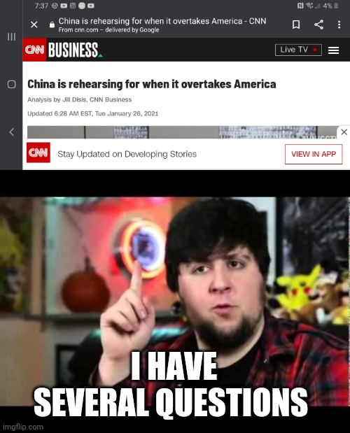 They were talking about the economy, but... |  I HAVE SEVERAL QUESTIONS | image tagged in jontron i have several questions,china,united states,takeover,huh | made w/ Imgflip meme maker