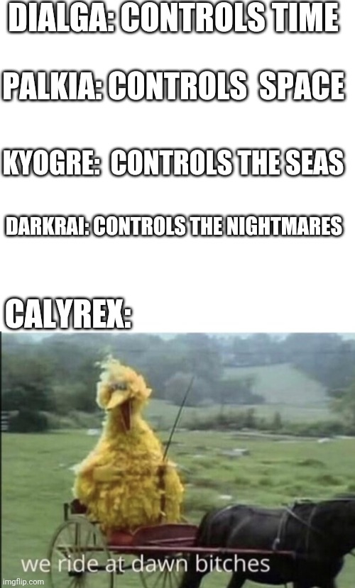 Calyrex is basically.... |  DIALGA: CONTROLS TIME; PALKIA: CONTROLS  SPACE; KYOGRE:  CONTROLS THE SEAS; DARKRAI: CONTROLS THE NIGHTMARES; CALYREX: | image tagged in blank white template,we ride at dawn bitches,pokemon,pokemon sword and shield | made w/ Imgflip meme maker
