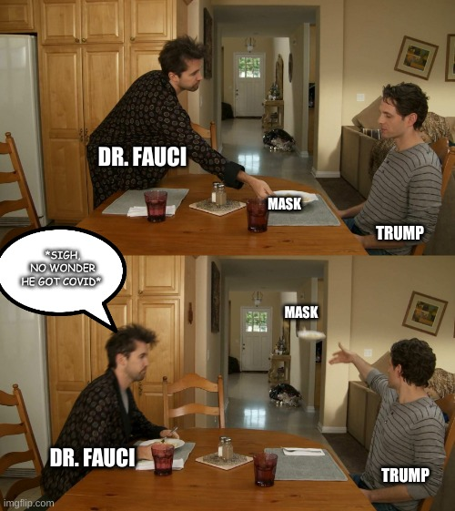 Sorry America, I Know It Is Disappointing |  DR. FAUCI; MASK; *SIGH, NO WONDER HE GOT COVID*; TRUMP; MASK; DR. FAUCI; TRUMP | image tagged in plate toss | made w/ Imgflip meme maker