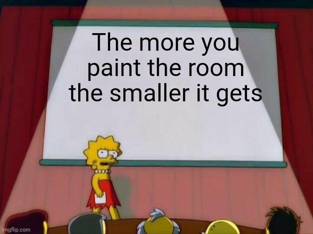 You best be careful out here |  The more you paint the room the smaller it gets | image tagged in lisa simpson's presentation,memes,funny,the simpsons,paint,scary | made w/ Imgflip meme maker