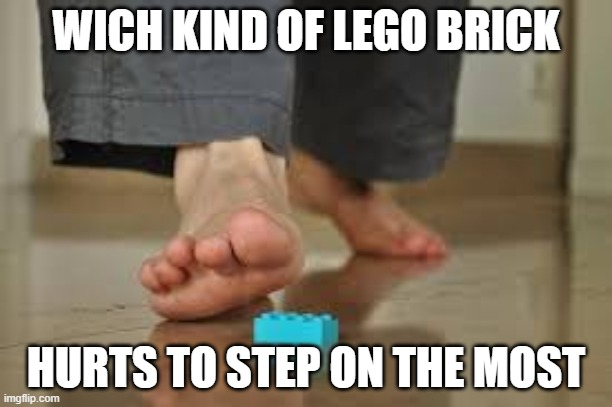 they wouldent let me do it in the other think tank, mabie the kidd one will |  WICH KIND OF LEGO BRICK; HURTS TO STEP ON THE MOST | image tagged in lego | made w/ Imgflip meme maker