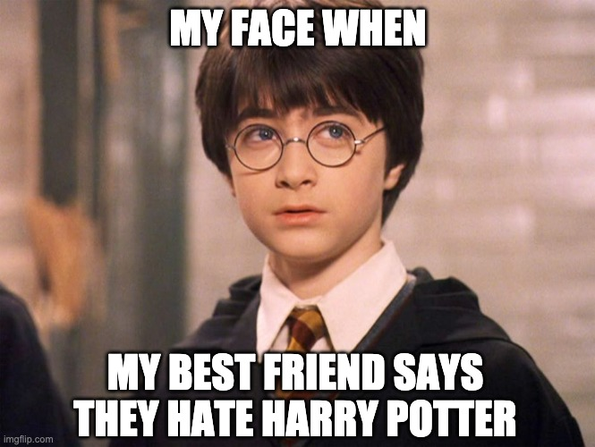 Harry Potter Reaction Meme |  MY FACE WHEN; MY BEST FRIEND SAYS THEY HATE HARRY POTTER | image tagged in harry potter,reaction,best friend | made w/ Imgflip meme maker
