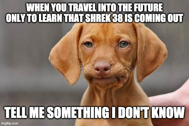 Dissapointed puppy |  WHEN YOU TRAVEL INTO THE FUTURE ONLY TO LEARN THAT SHREK 38 IS COMING OUT; TELL ME SOMETHING I DON'T KNOW | image tagged in dissapointed puppy | made w/ Imgflip meme maker