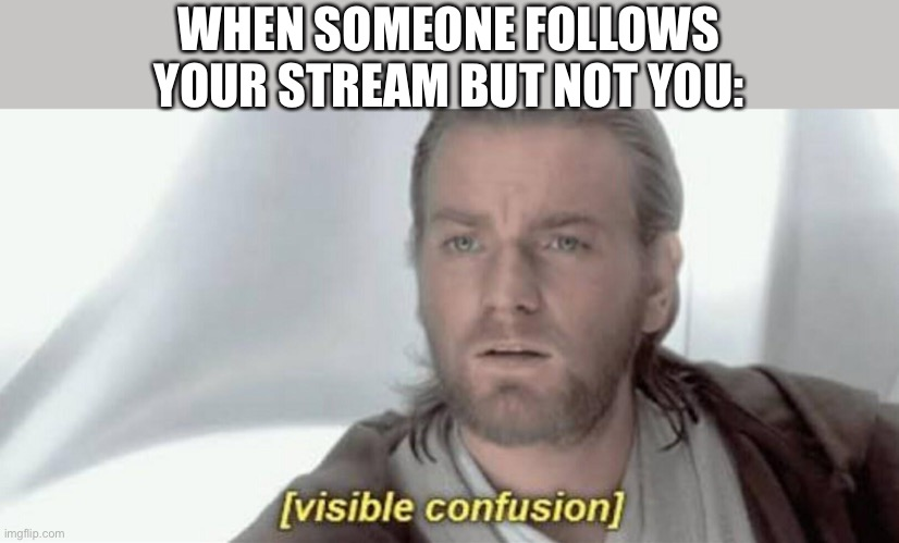 LOL |  WHEN SOMEONE FOLLOWS YOUR STREAM BUT NOT YOU: | image tagged in visible confusion,funny,imgflip,memes,followers | made w/ Imgflip meme maker