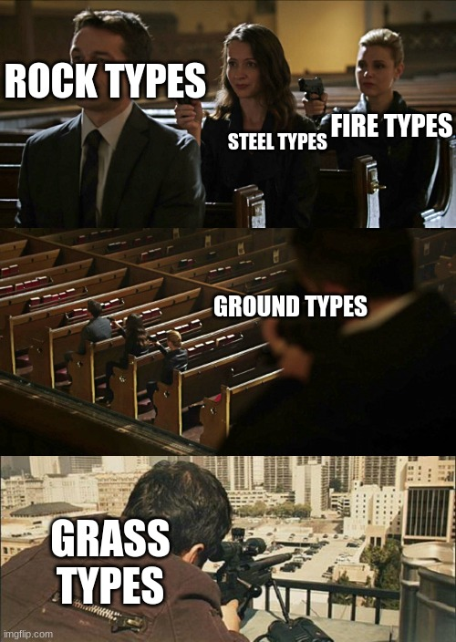 ROCK TYPES STEEL TYPES FIRE TYPES GROUND TYPES GRASS TYPES | image tagged in assassination chain,assassination chain extended | made w/ Imgflip meme maker