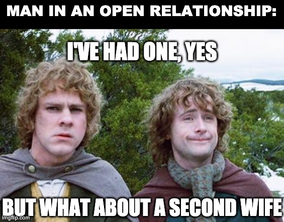 Open relationship |  MAN IN AN OPEN RELATIONSHIP:; I'VE HAD ONE, YES; BUT WHAT ABOUT A SECOND WIFE | image tagged in second breakfast | made w/ Imgflip meme maker