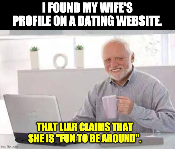"Dating Site |  I FOUND MY WIFE'S PROFILE ON A DATING WEBSITE. THAT LIAR CLAIMS THAT SHE IS ""FUN TO BE AROUND"". 