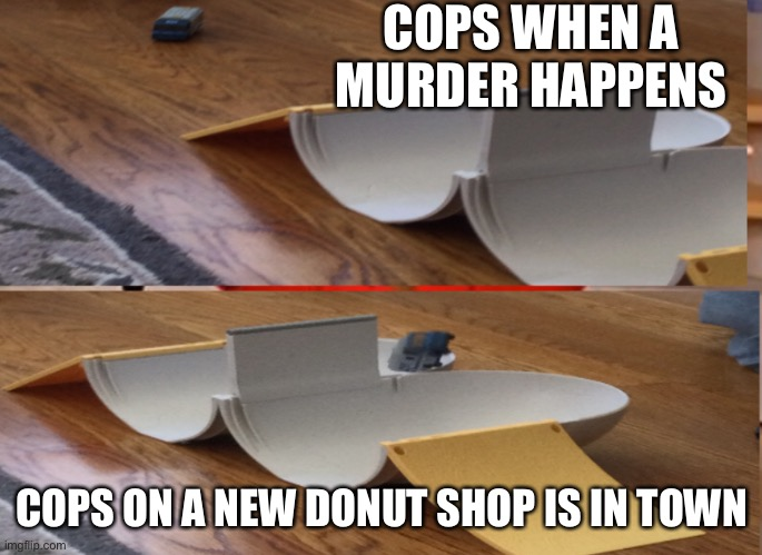 Yeet |  COPS WHEN A MURDER HAPPENS; COPS ON A NEW DONUT SHOP IS IN TOWN | image tagged in cops,cops and donuts,funny | made w/ Imgflip meme maker
