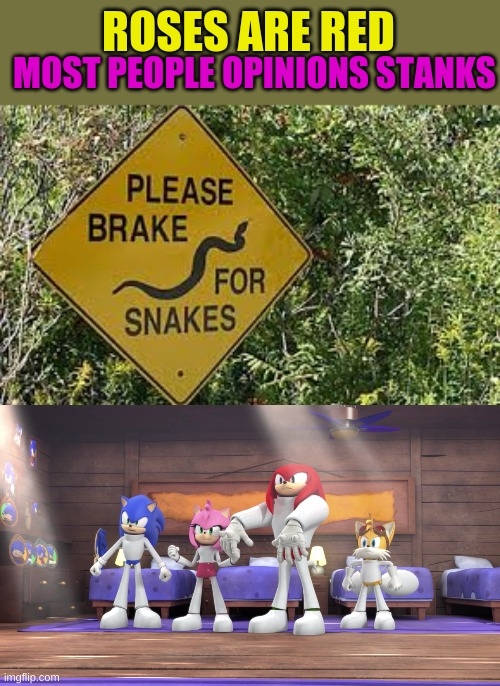 brake for the safety of a snake |  ROSES ARE RED; MOST PEOPLE OPINIONS STANKS | image tagged in broken,warning sign,poem | made w/ Imgflip meme maker