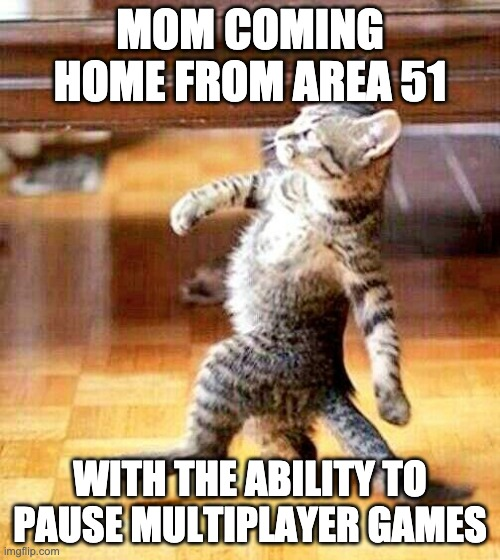 mom comin home from area 51 |  MOM COMING HOME FROM AREA 51; WITH THE ABILITY TO PAUSE MULTIPLAYER GAMES | image tagged in cat walking away,memes,funny,gaming,area 51 | made w/ Imgflip meme maker