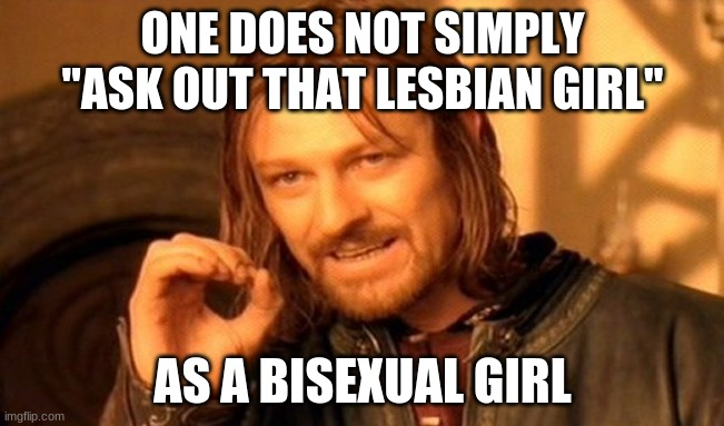 "what do i do 7th grade is awkward |  ONE DOES NOT SIMPLY ""ASK OUT THAT LESBIAN GIRL""; AS A BISEXUAL GIRL 