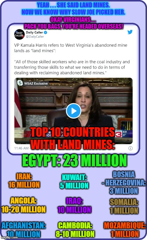 YEAH . . . SHE SAID LAND MINES. NOW WE KNOW WHY SLOW JOE PICKED HER. OKAY VIRGINIANS. . .  PACK YOU BAGS, YOU'RE HEADED OVERSEAS! TOP 10 COUNTRIES WITH LAND MINES:; EGYPT: 23 MILLION; BOSNIA - HERZEGOVINA: 3 MILLION; IRAN: 16 MILLION; KUWAIT: 5 MILLION; ANGOLA: 10-20 MILLION; IRAQ: 10 MILLION; SOMALIA: 1 MILLION; AFGHANISTAN: 10 MILLION; MOZAMBIQUE: 1 MILLION; CAMBODIA: 8-10 MILLION | made w/ Imgflip meme maker