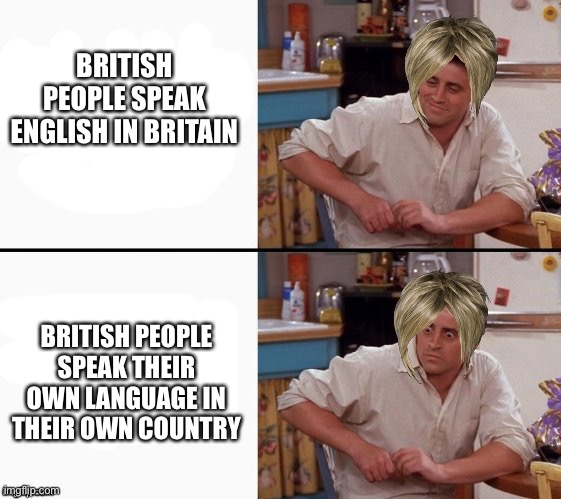 Comprehending Karen |  BRITISH PEOPLE SPEAK ENGLISH IN BRITAIN; BRITISH PEOPLE SPEAK THEIR OWN LANGUAGE IN THEIR OWN COUNTRY | image tagged in comprehending joey | made w/ Imgflip meme maker