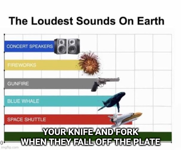Everytime... |  YOUR KNIFE AND FORK WHEN THEY FALL OFF THE PLATE | image tagged in the loudest sounds on earth,memes,funny,sound,gifs,not really a gif | made w/ Imgflip meme maker