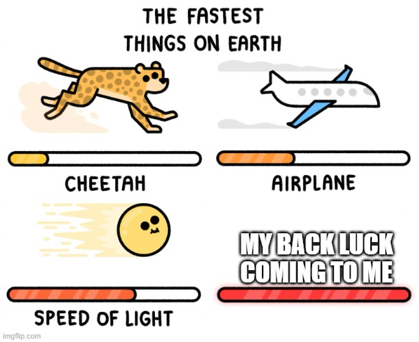 Fastest thing on earth |  MY BACK LUCK COMING TO ME | image tagged in fastest thing on earth | made w/ Imgflip meme maker
