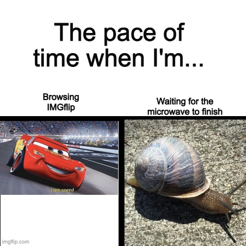 The pace of time |  The pace of time when I'm... Waiting for the microwave to finish; Browsing IMGflip | image tagged in i am speed,relatable,wasting time | made w/ Imgflip meme maker