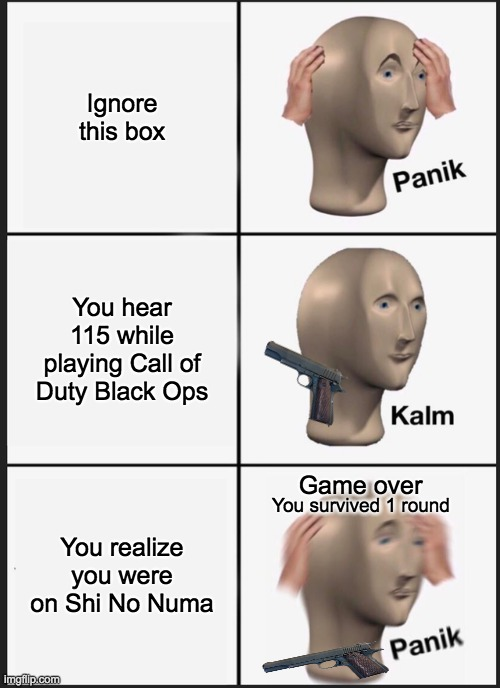 Damn, I hate it when this happens. |  Ignore this box; You hear 115 while playing Call of Duty Black Ops; Game over; You realize you were on Shi No Numa; You survived 1 round | image tagged in memes,panik kalm panik | made w/ Imgflip meme maker