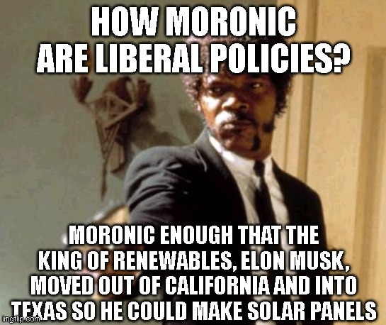 Say That Again I Dare You |  HOW MORONIC ARE LIBERAL POLICIES? MORONIC ENOUGH THAT THE KING OF RENEWABLES, ELON MUSK, MOVED OUT OF CALIFORNIA AND INTO TEXAS SO HE COULD MAKE SOLAR PANELS | image tagged in memes,say that again i dare you | made w/ Imgflip meme maker