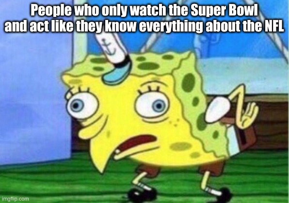Mocking Spongebob |  People who only watch the Super Bowl and act like they know everything about the NFL | image tagged in memes,mocking spongebob | made w/ Imgflip meme maker