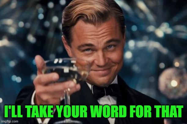 I'LL TAKE YOUR WORD FOR THAT | image tagged in memes,leonardo dicaprio cheers | made w/ Imgflip meme maker
